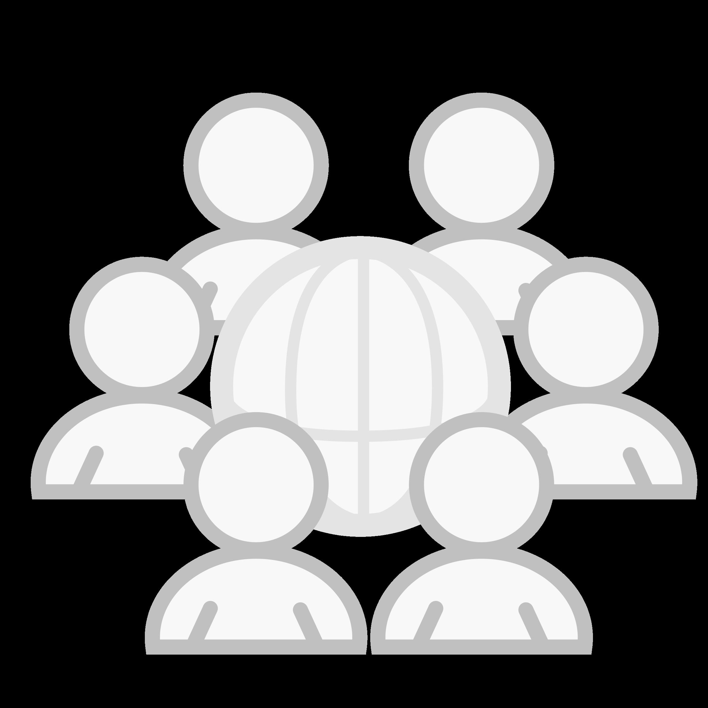 individuals gathered around globe representing community