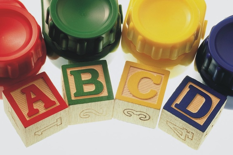 Paint pots and letter blocks