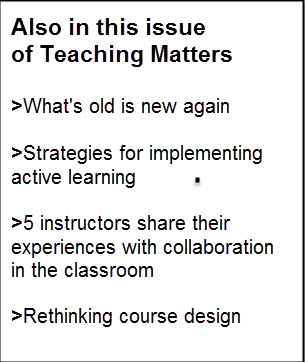 box with information about articles in the latest issue of Teaching Matters