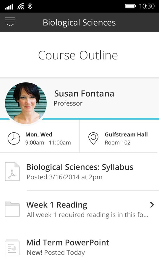 screenshot from blackboard student app
