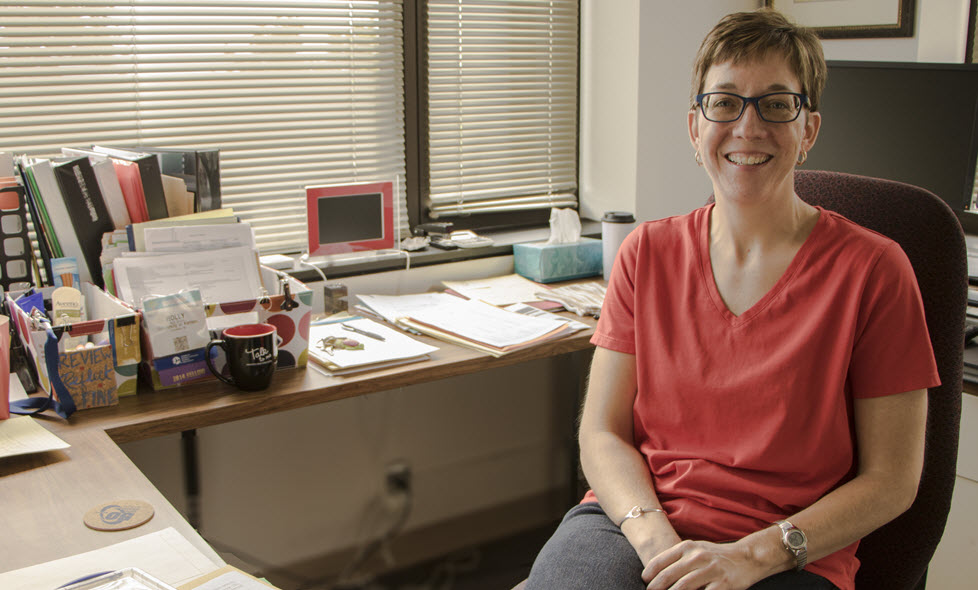 Holley Storkel in her office in the Dole Human Development Center