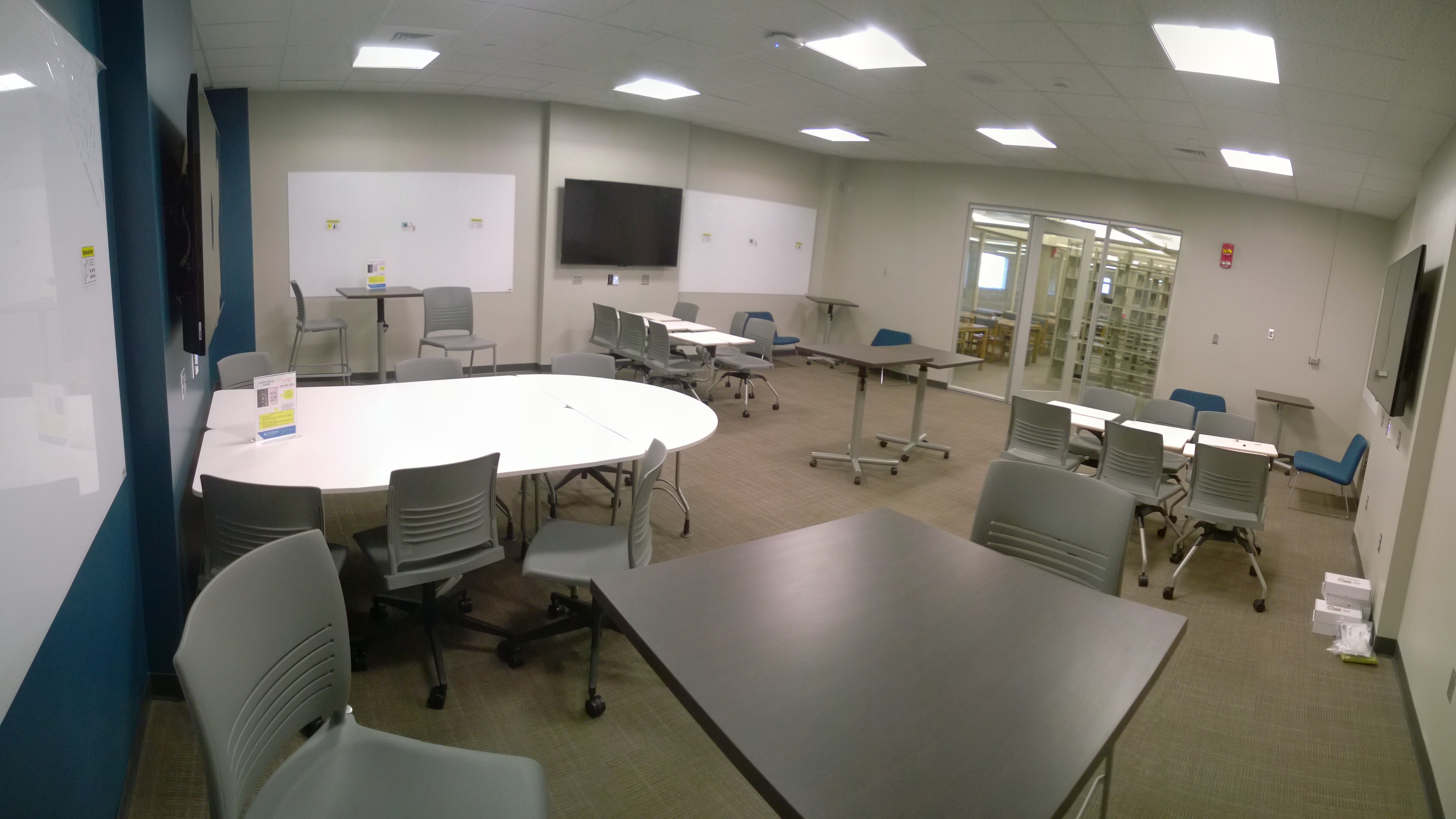 panorama of new classroom in Anschutz Library