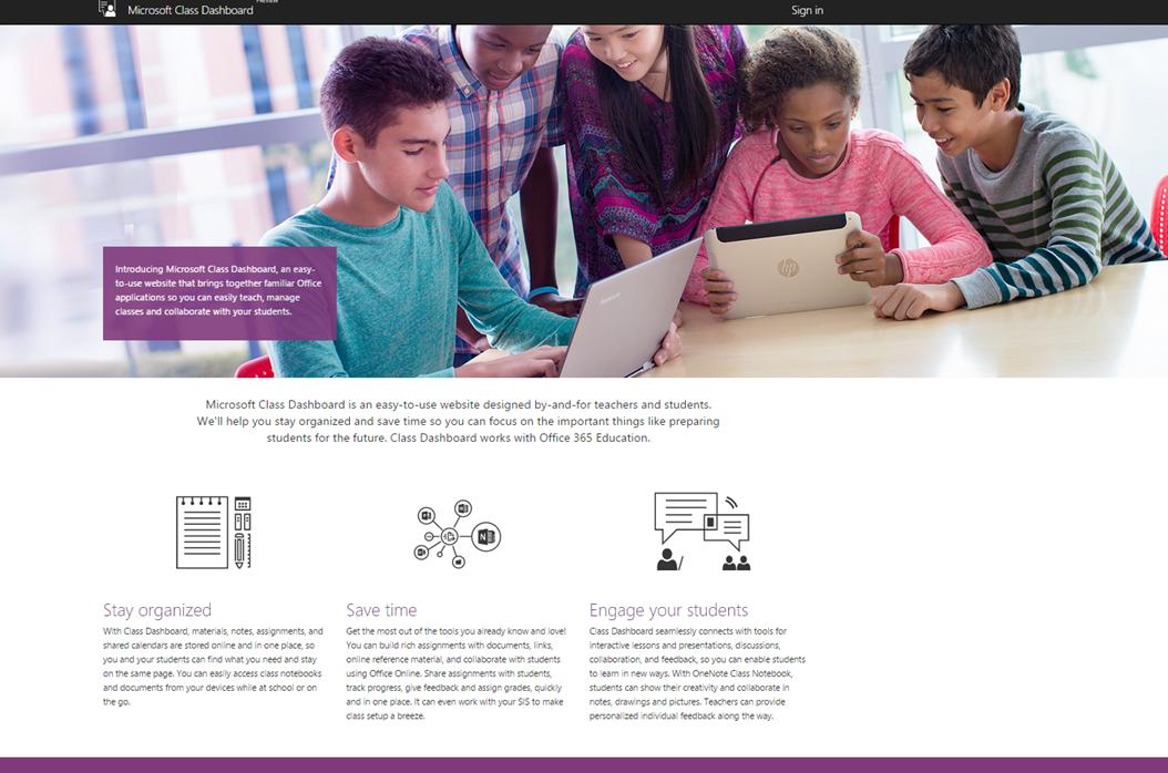 Screenshot of Microsoft's Education Dashboard
