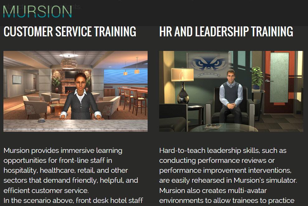 screenshot of mursion website
