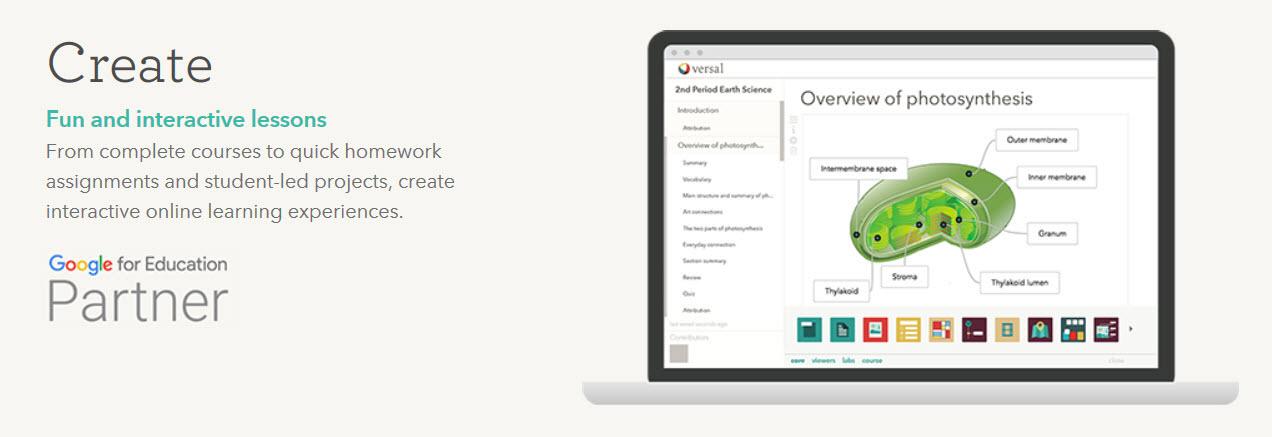screenshot of versal website
