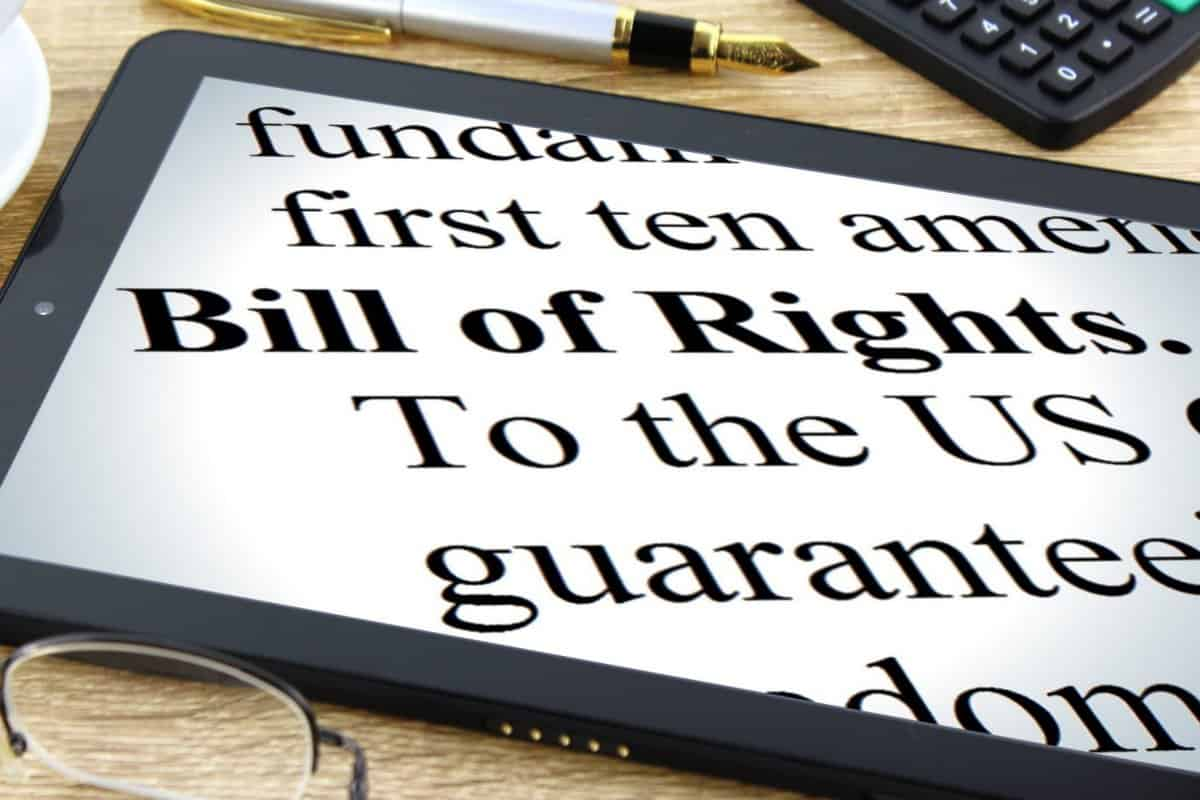 elements of bill of rights on a tablet screen