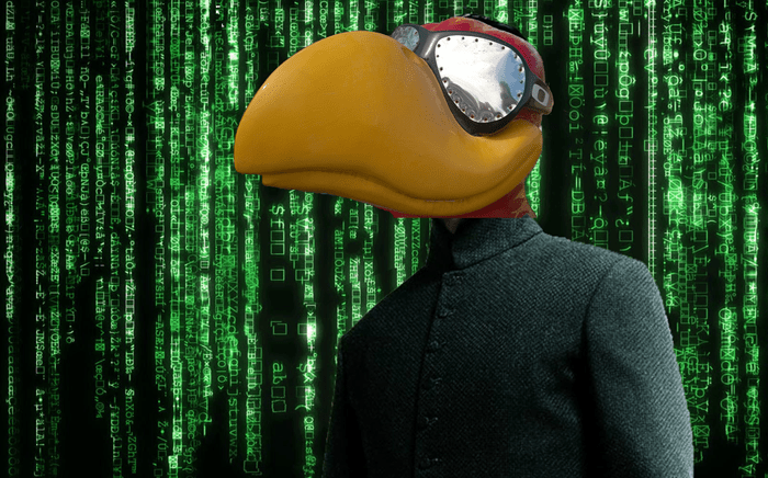 Jayhawk in matrix-style coat