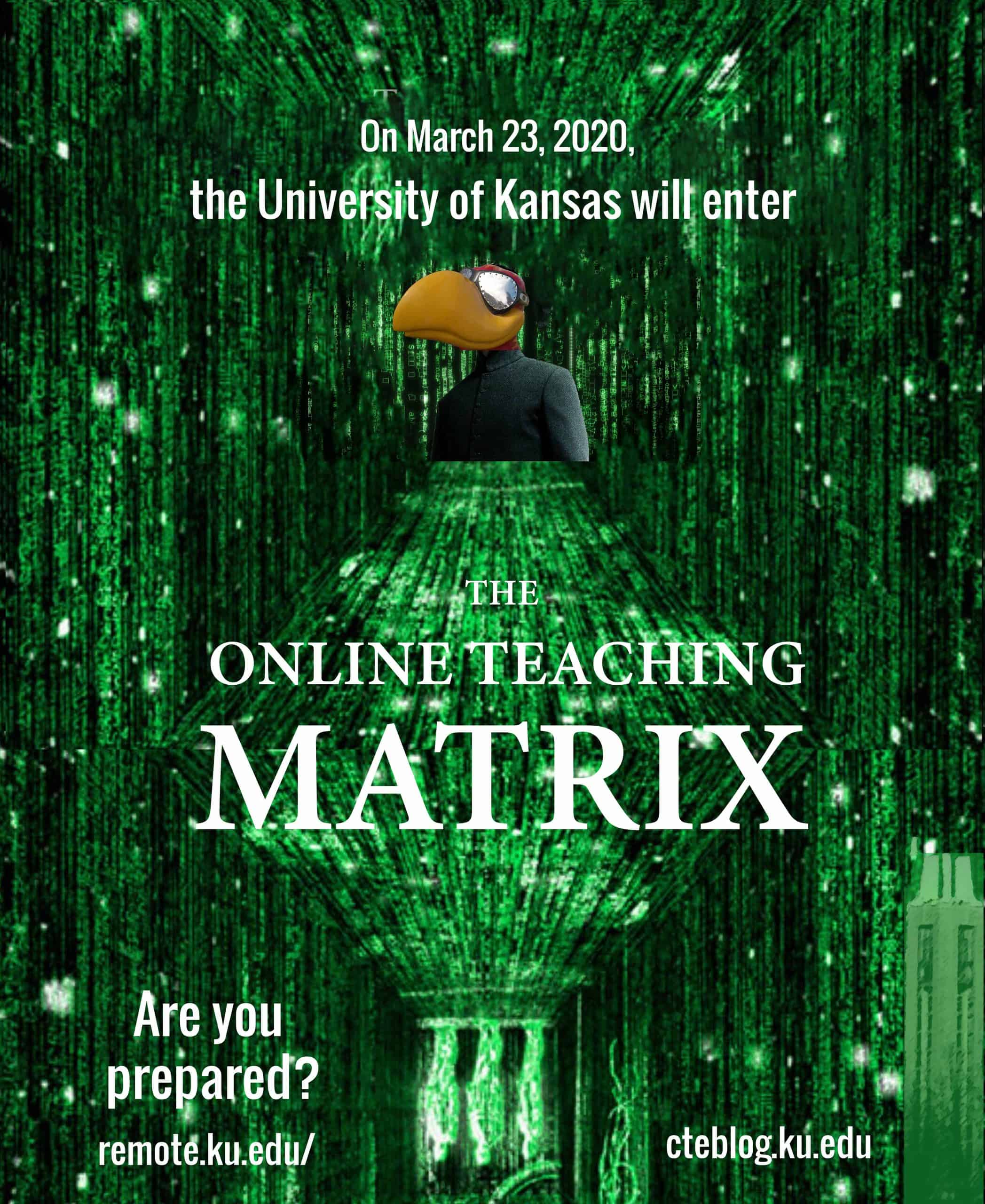 satiric movie poster imitation called the online teaching matrix